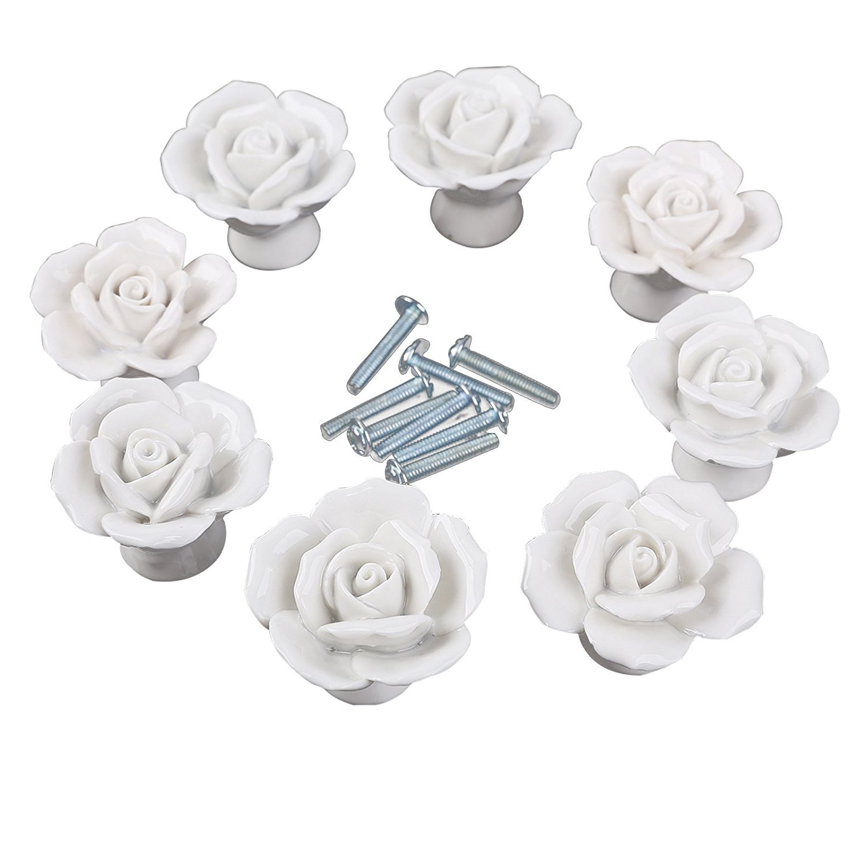 Manopole, 8PCS elegante bianco/rosa rosa fiore tira ceramica armadietto cassettiera maniglioni + vite White Guangzhou Ai Shi Man Electronic Commerce Limited