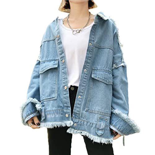 Sentao Mujer Casual Chaquetas De Mezclilla Tallas Grandes Denim Jacket Manga Larga Abrigo
