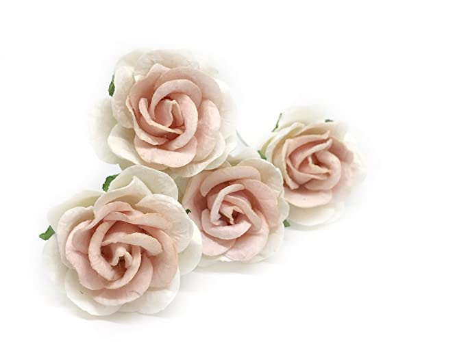 Amazon 15 white blush pink mulberry paper flowers mulberry 15quot white blush pink mulberry paper flowers mulberry paper roses diy wedding mightylinksfo