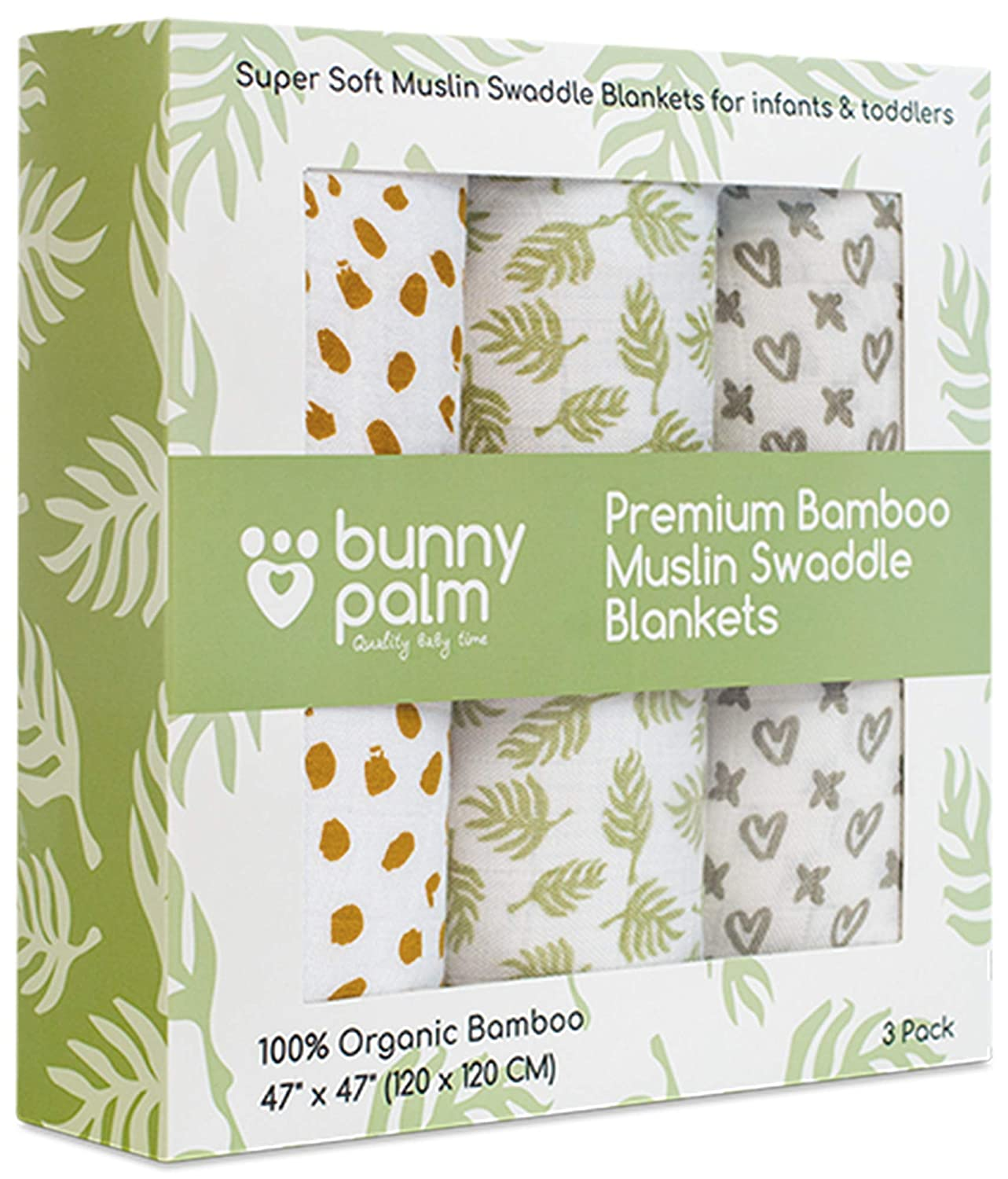 Swaddle Blanket Muslin Organic Bamboo for Baby, Set of 3 Swaddles for Boys and Girls, Soft Swaddling Receiving Sleep Blankets