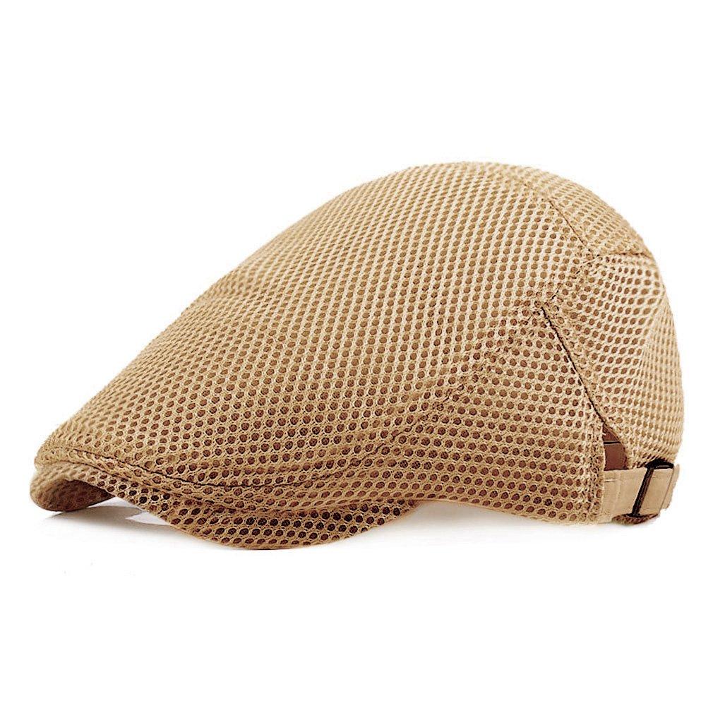 a65677deca2 RICHTOER Men Breathable Mesh Summer Hat Newsboy Beret Ivy Cap Cabbie Flat  Cap (Beige) at Amazon Men s Clothing store