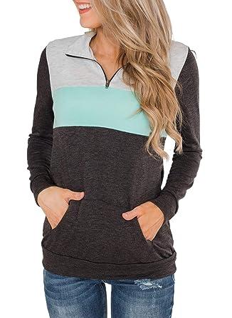 3f5f71899 BLENCOT Women Ladies Winter Color Block 1/4 Quarter Zip Long Sleeve  Sweatshirt Casual Loose