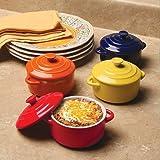 Colorful Stoneware Mini Casserole Pots With Lids - Set of 4