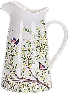 Bico Bird On Tree Ceramic 2.5 Quart Pitcher with Handle, Decorative Vase for Flower Arrangements, Dishwasher Safe