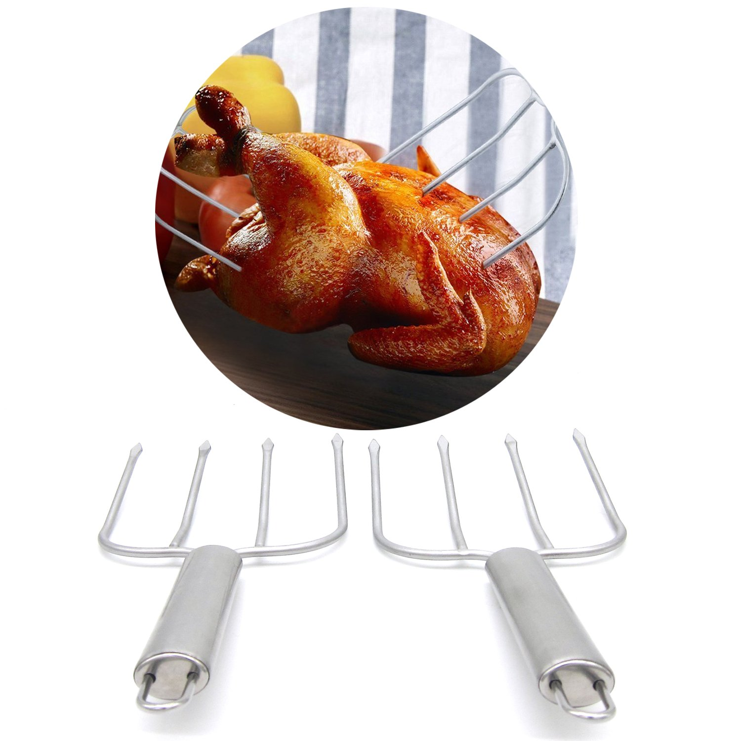 Poultry Pair of Turkey Lifters Meat Chicken Roast Forks