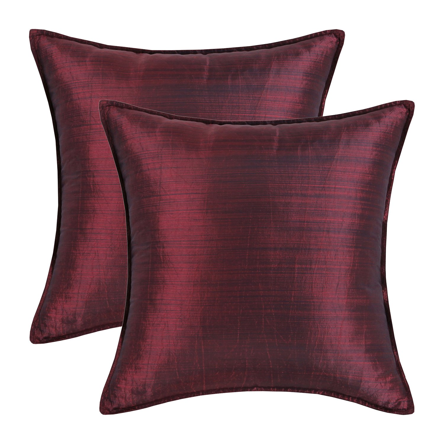 CaliTime Pack of 2, Silky Throw Pillow Covers Cases for Couch Sofa Bed, Modern Light Weight Dyed Striped, 22 X 22 Inches, Burgundy