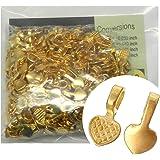 Rockin Beads Brand, 300 Glue on Heart Bails Pendant Hanger Bright Gold Plated 16x8mm