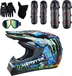 GUOGUO Dot Youth /& Kids Motocross Offroad Street Helm Blauer Sch/ädel Motorradhelm Dirt Bike Helm Schutzbrille Handschuhe
