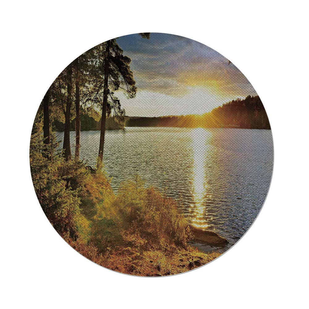 iPrint Cotton Linen Round Tablecloth,Landscape,Sunset Dawn in the Forest over Lake of Two Rivers Algonquin Park Ontario Canada,Multicolor,Dining Room Kitchen Table Cloth Cover