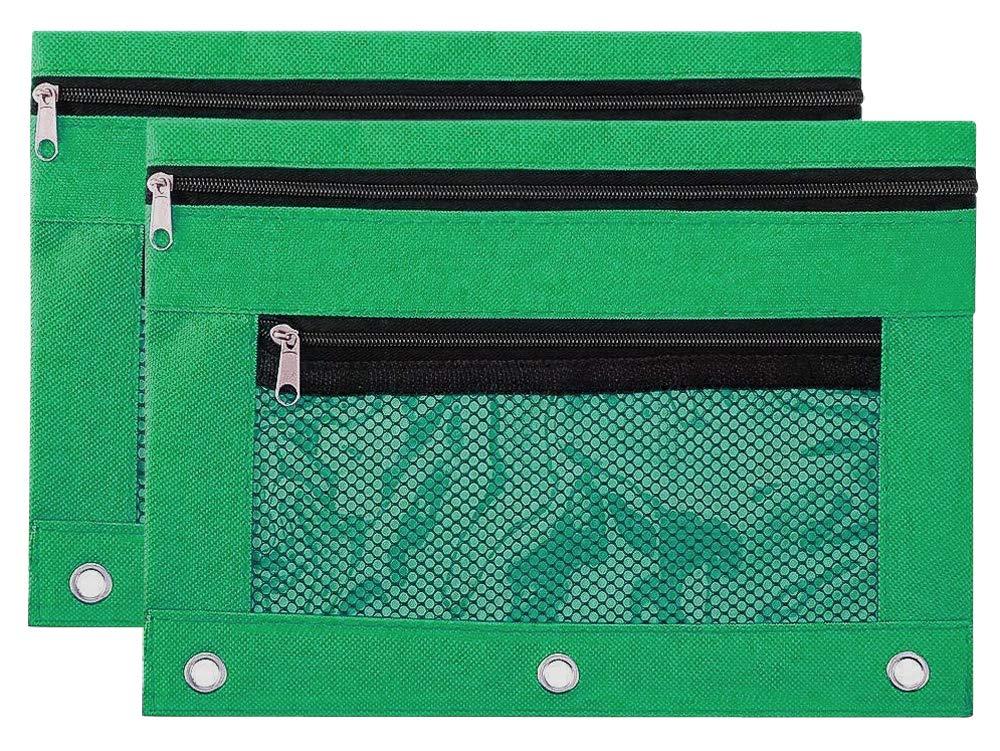 Estuche para lápices con cremallera con 3 anillas y doble bolsillo y ventana de malla (6 unidades): Amazon.es: Oficina y papelería