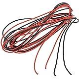 SODIAL(R)2x 3M 18ゲージAWGシリコーンゴムケーブル赤い黒いフレキシブル