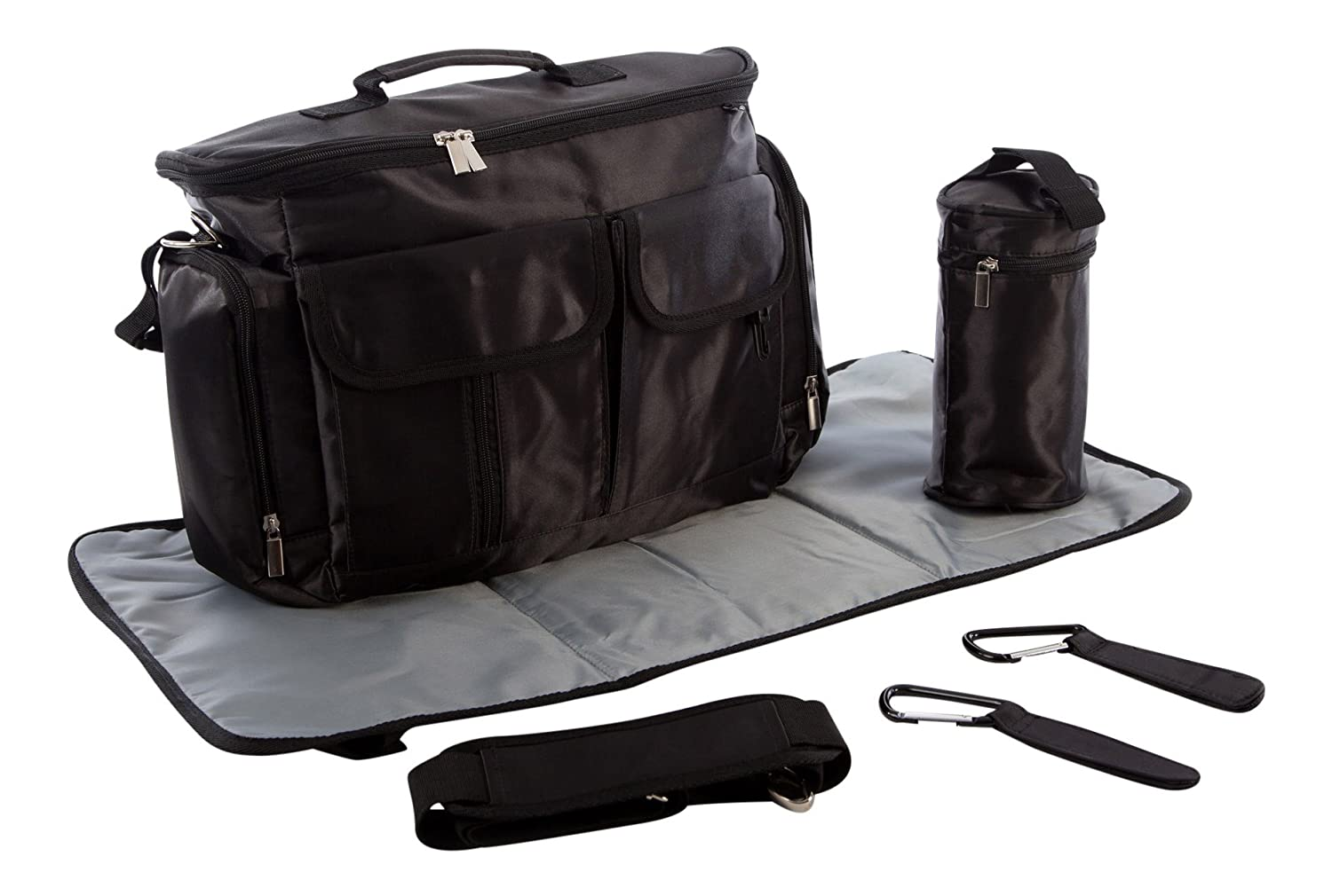 BTR Baby Changing Bag incl. Changing Mat, Bottle Holder & 2 Buggy Clips – Attach to Prams/Strollers/Buggies. Black