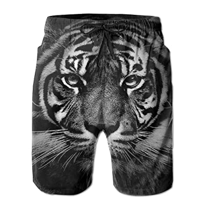 POOP LOOL Men's Cool Tiger Beach Short Pant Swimming Pants Sandy Sport Pants with Pockets for Summer