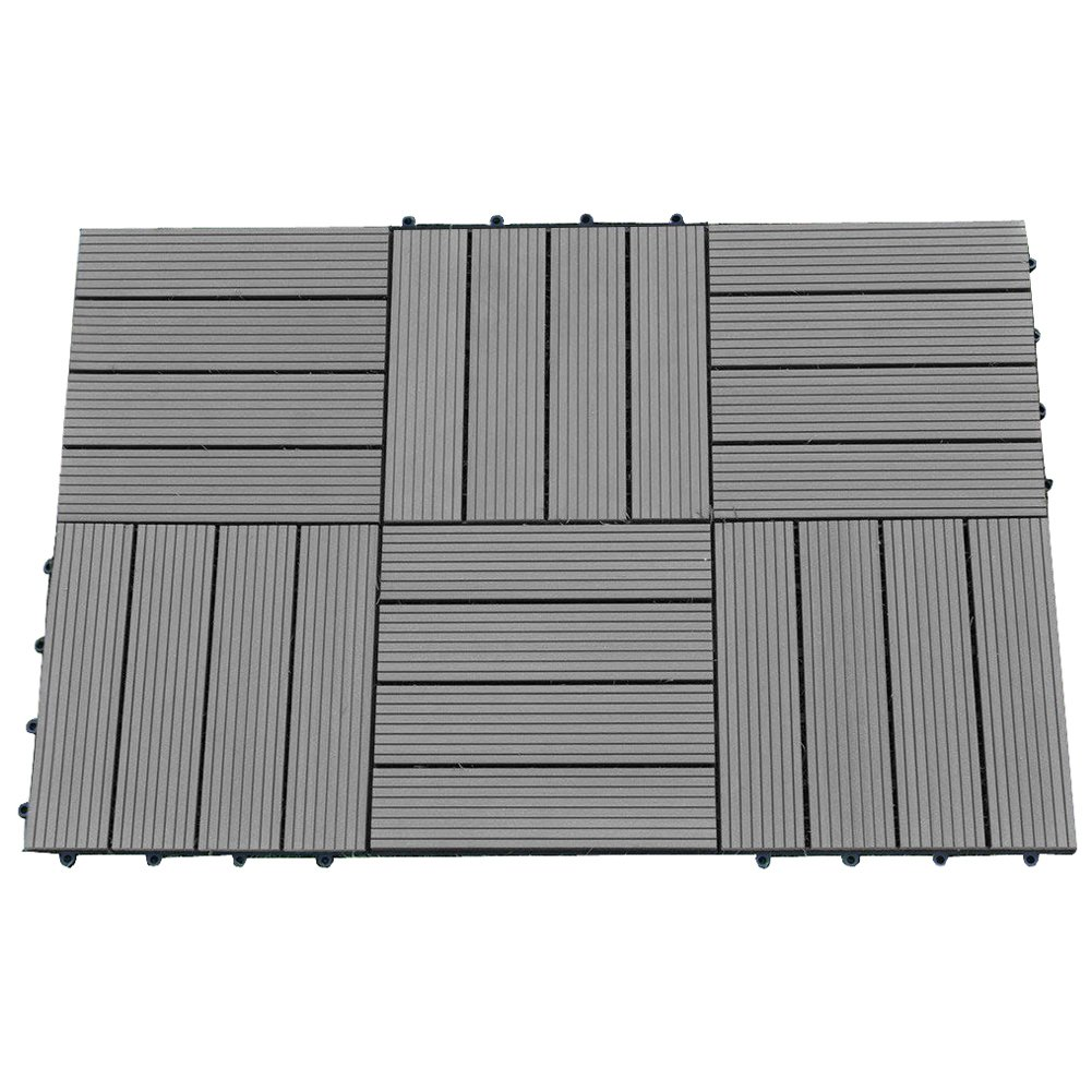 Abba Patio 12 x 12 Inch Outdoor Four Slat Wood-Plastic Composite Interlocking Decking Tile, 6 Pieces One Pack, Dark Grey by Abba Patio