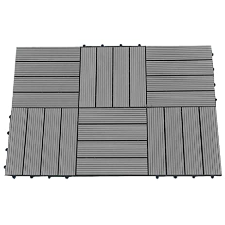 Abba Patio Interlocking Flooring Decking Tiles Outdoor Four Slat  Wood Plastic Composite Tile 12 X