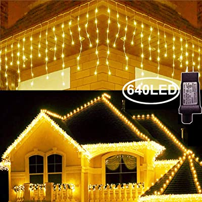 Hezbjiti 8 Modes LED Icicle Lights, 65.6 FT 640 LED 120 Drops Fairy String Lights Plug in Extendable Curtain Light String Christmas Lights for Bedroom Patio Yard Garden Wedding Party (Warm White) : Garden & Outdoor