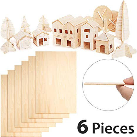 Amazon Com 6 Pieces Balsa Wood Sheets 300 X 200 X 1 5 Mm Thin Basswood Wood Sheets Hobby Wood Plywood Board For Diy Crafts Wooden Mini House Boat Airplane Model