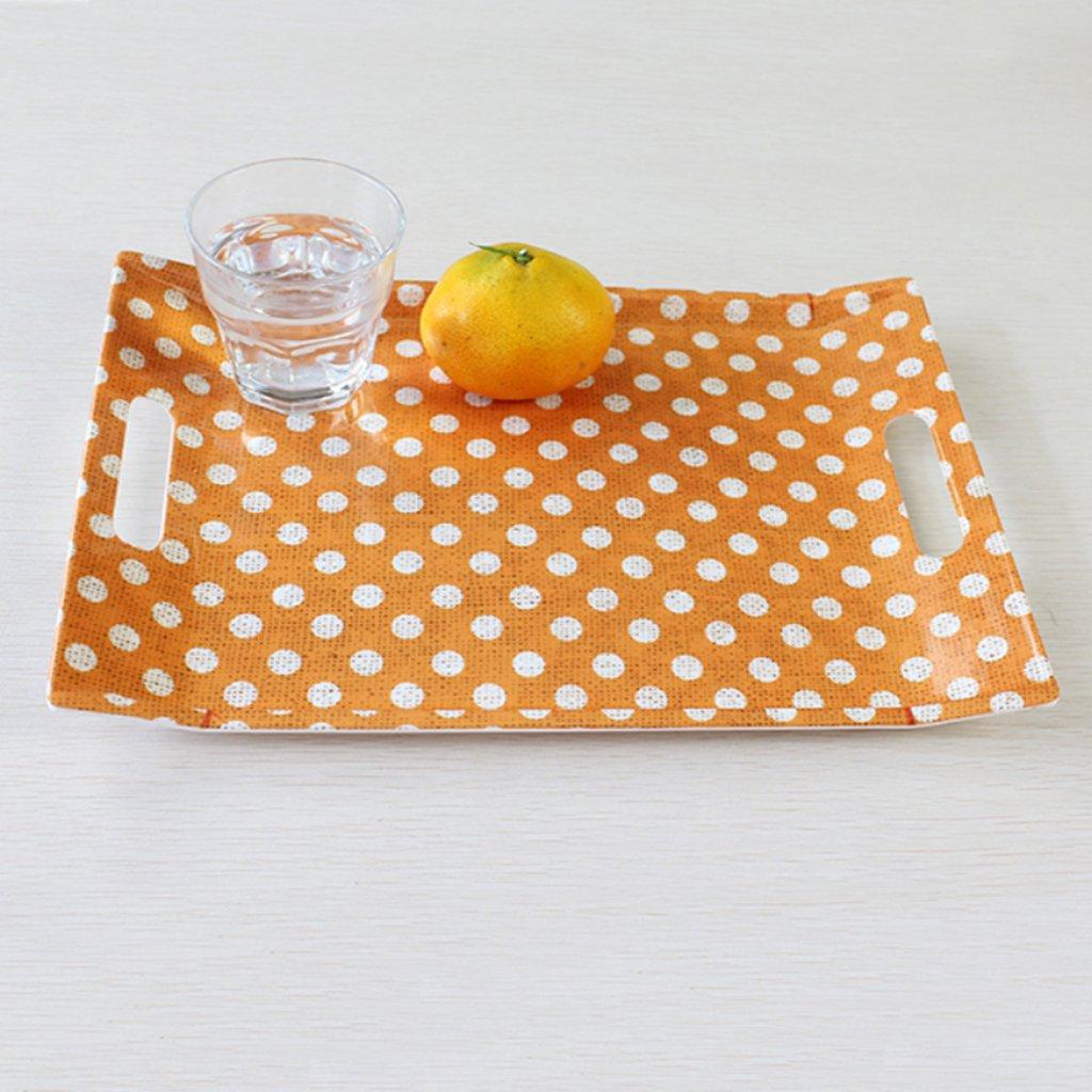 Kaxima Placa de melamina, bandeja bandeja binaural, bandeja de porcelana de imitación, bandeja bandeja de té, bandeja de fruta, engrosamiento 38.723.1cm 38254c