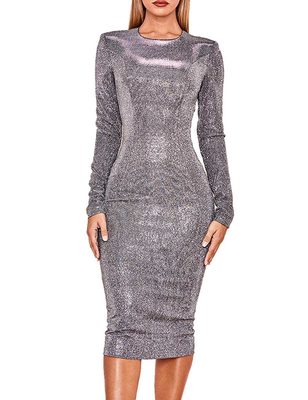 3a87d01e3db Whoinshop Women s Silver Sparkly Long Sleeve Bodycon Party Cocktail Midi  Dress at Amazon Women s Clothing store
