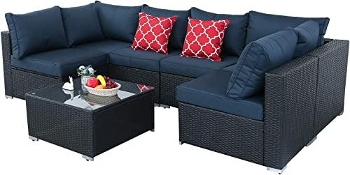 Furnimy 7 Pieces Outdoor Indoor Sectional Sofa Set Patio Furniture Set Rattan Wicker Expresso