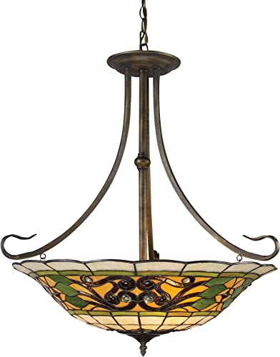 Elk 08026-Va Tiffany Buckingham 3-Light Pendant, 29-1 2-Inch, Vintage Antique With Tiffany Style Glass