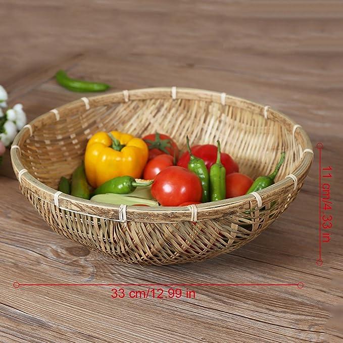 CampHiking® Osier tressé à la main Plateau de service Panier de vidange de fruits Légumes Nourriture Pain Panier de rangement FHKTjpx