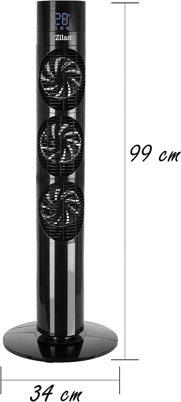 3 niveles, 3 palas, 3 modos, 20 W de potencia CC, temporizador de 12 horas, mando a distancia, pantalla LED, ventilador de torre y pilar, enfriador de aire Ventilador de torre