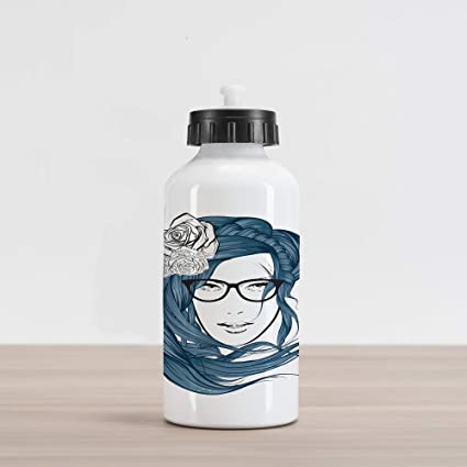 a4a264cee7 Lunarable Curly Hair Aluminum Water Bottle, Girl with The Blue Hair and  Flowers Nerd Young