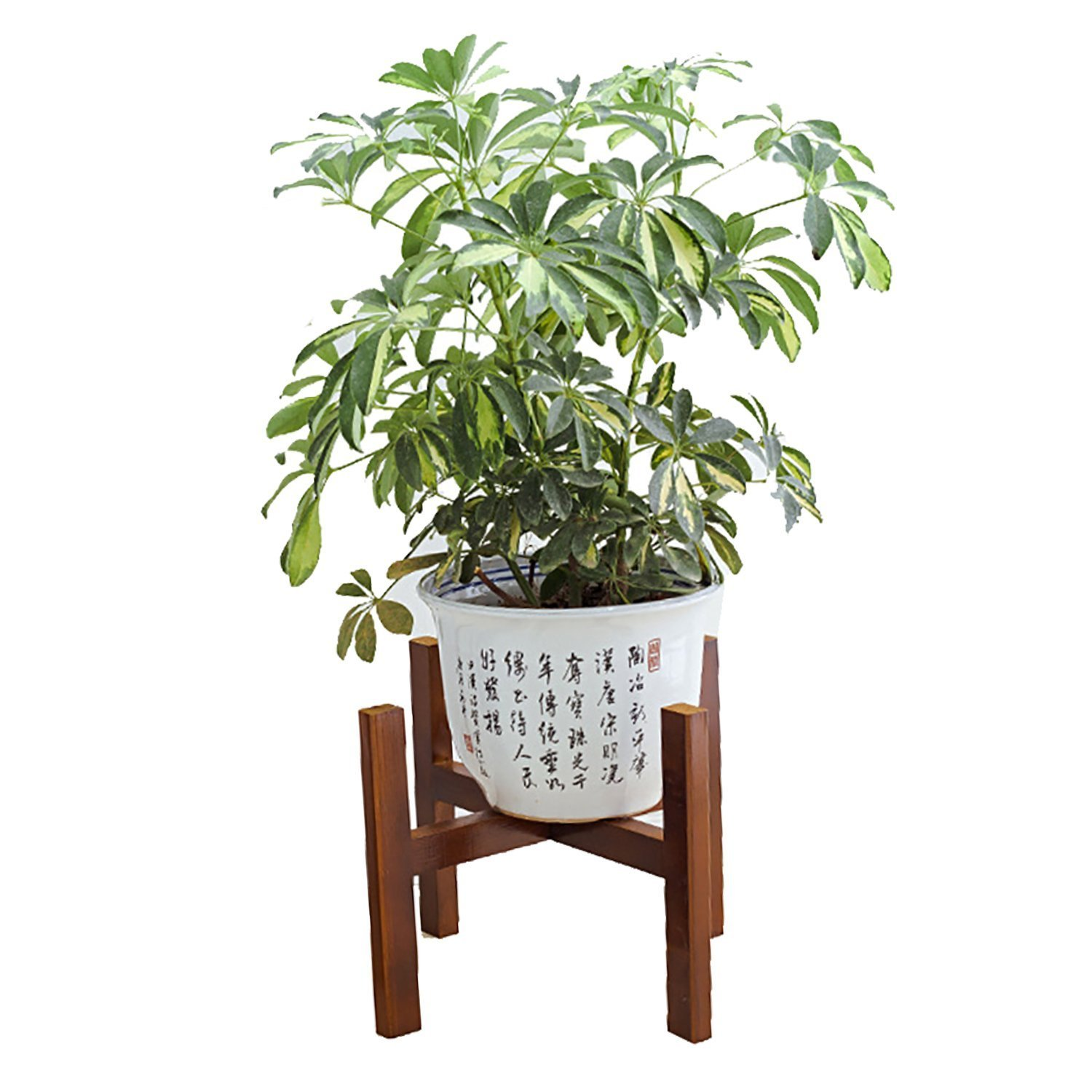 Wood Potted Plant Stands DOIOWN Corner Flower Stand Indoor Plant Pot Holder Planter Supports Display Stands for Home,Garden,Office (Walnut&Short) by DOIOWN