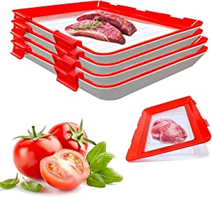 Food Plastic Preservation Tray- stackable food preservation trays- Reusable fresh tray food storage for Vegetable Fruit Meat Kitchen, Office, School (4)