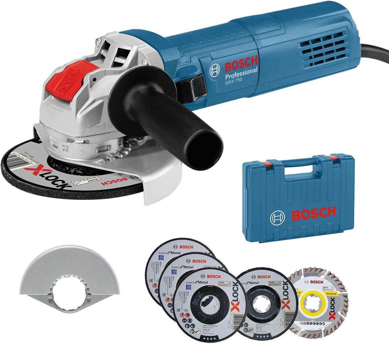 Bosch Professional Amoladora Angular GWX 750-125 (disco Ø 125 mm, incl. juego de discos de corte y de amolado de 5 piezas, cubierta protectora 125 mm, en maletín) - Amazon Edición