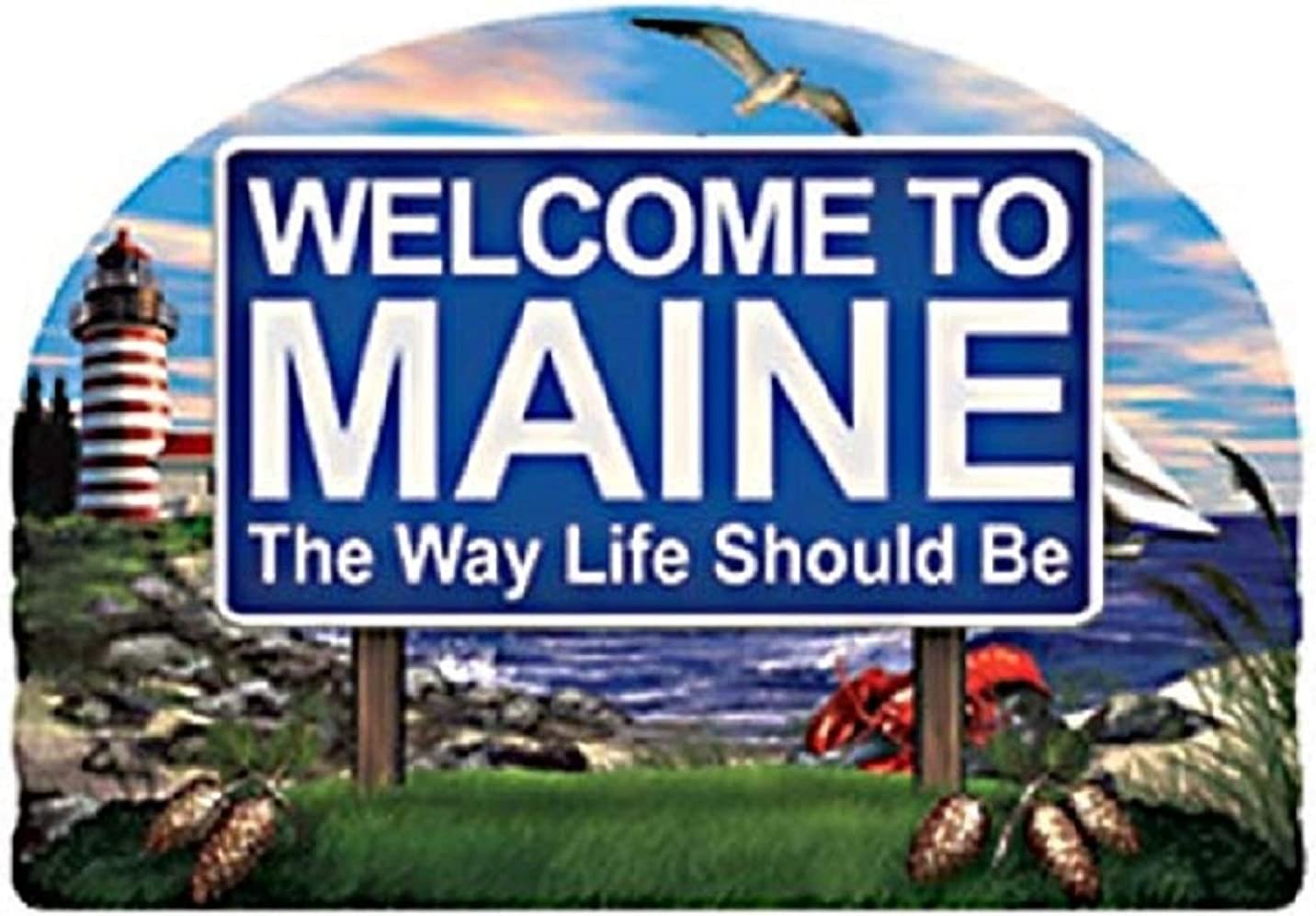 Maine State Welcome Sign Wood Fridge Magnet 2