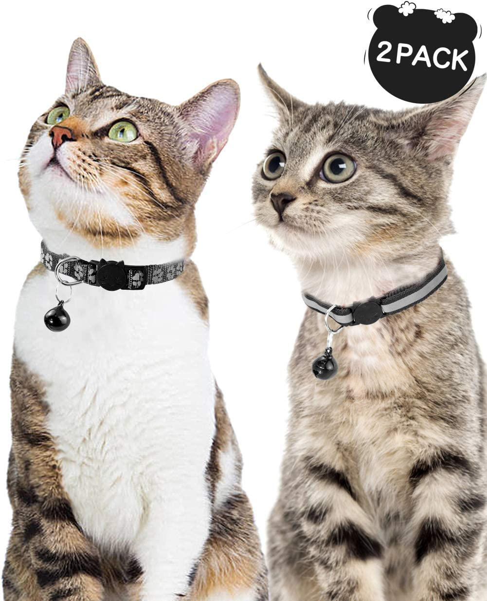 Black Reflective Fabric Cat Collars Breakaway with Bell, 2-Pack Adjustable 7.5-12.5 Inch