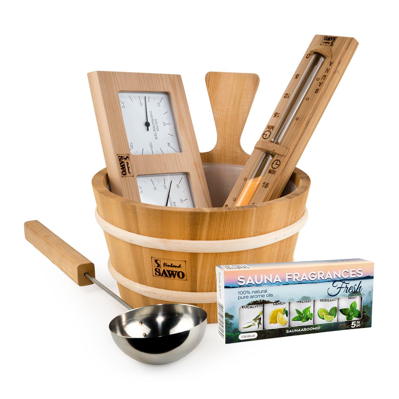 SAWO Kit d'accessoires en cèdre 5 pièces: seau de 4L et louche de 46CM ensemble avec Thermo-Hygromètre, Sablier et Kit d'huiles essentielles pour sauna