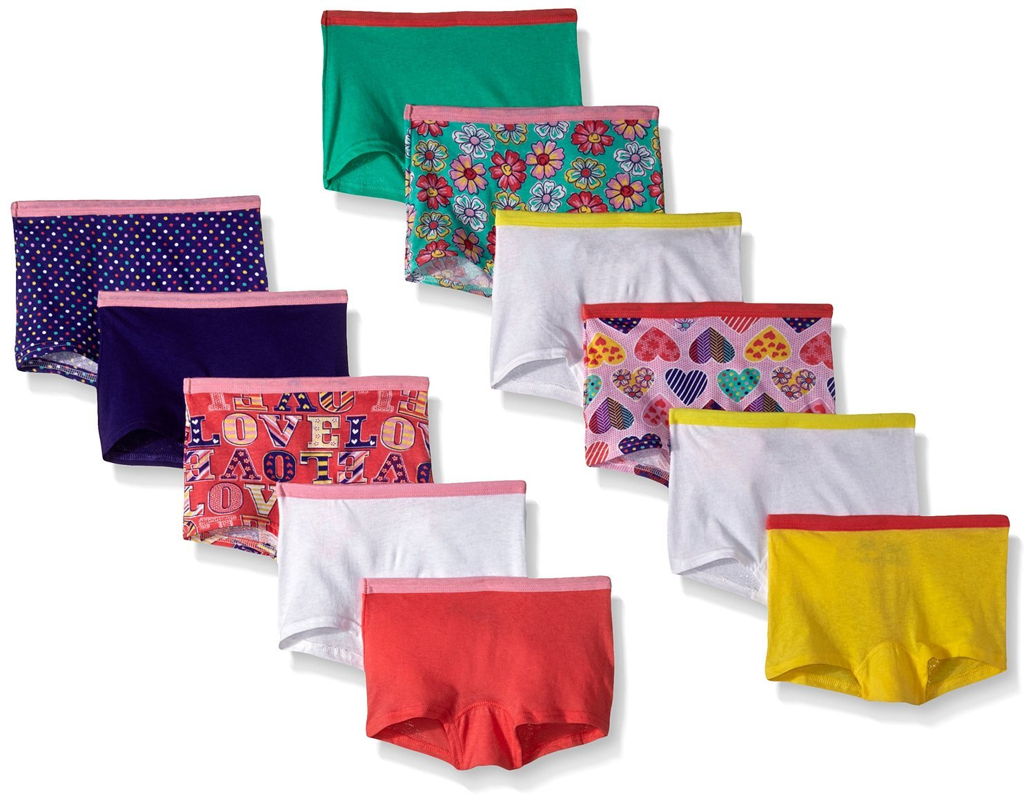 Fruit of the Loom Girls 11Pack Assorted Cotton Boy Shorts Panties, 14