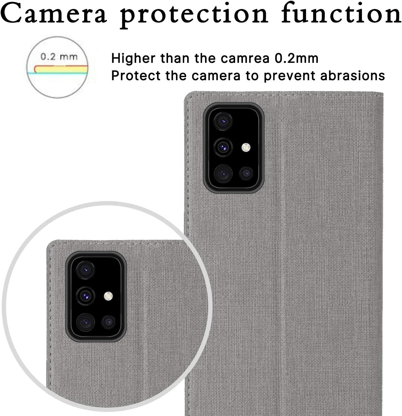 HATA Samsung A51 Lederh/ülle Handyh/ülle klapph/ülle mit Standfunktion Magnetverschlu/ß Kartenfach Samsung A51 Schutzh/ülle Tasche A51, Black