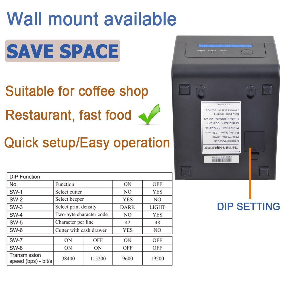 sec Impresora de tickets t/érmicos de 80 mm Con detector de moneda UV Impresora de recibos t/érmicos 300 mm Actualizaci/ón 2.0