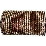 BangleEmporium Chamak Collection! 48 Indian Bracelets Maroon Gold Medium 2.8