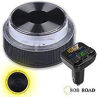 NK SOS Road - Luz de Emergencia Coche + Transmisor FM BSL, Luz de Emergencia Autónoma, Luz LED, Señal V16 de…
