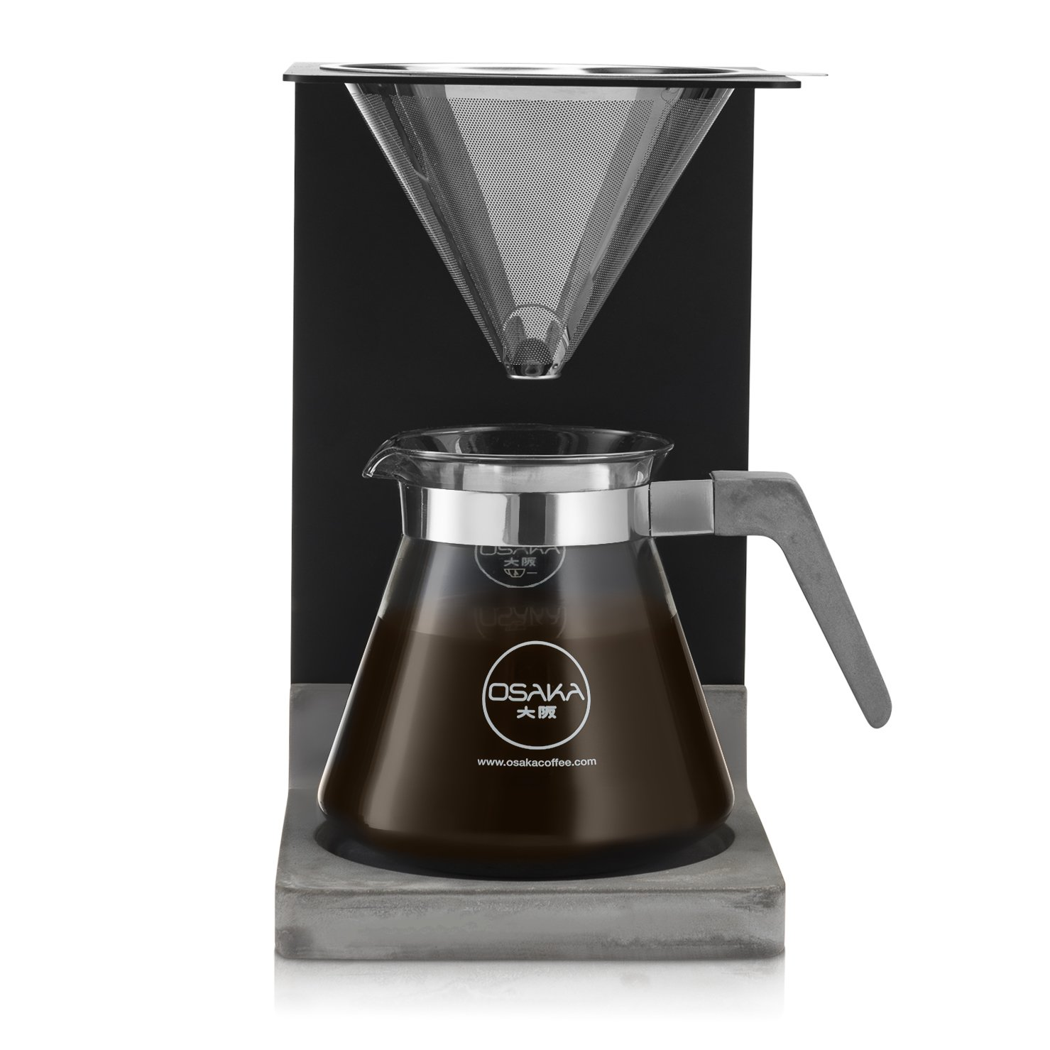 Osaka Concrete Pour-Over Coffee Station - Full Brewing Set for a Homemade Pourover - 20oz. Capacity. ''Mount Aso'' by Osaka