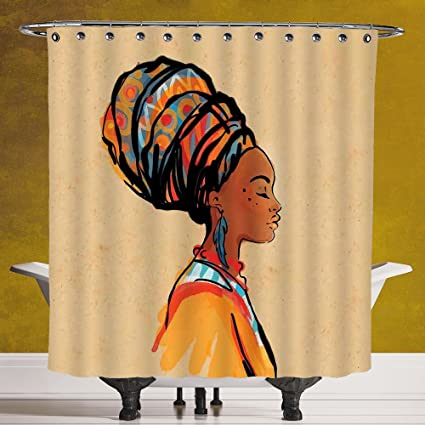 Fun Shower Curtain 30 By SCOCICI Afro DecorEthnic Woman With Exotic Feather Earring
