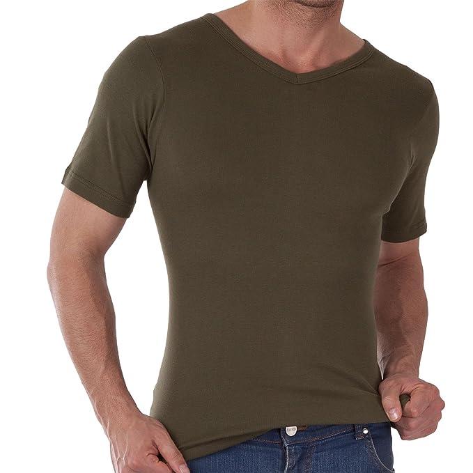 Herren V-Neck T-Shirt Feinripp Exclusive Olive-4