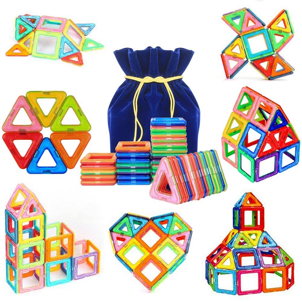 PONCTUEL ESCARGOT Magnetische Bauklötze Set, pädagogische Bausteine Magnetspielzeug,Konstruktion Blöcke, Lernspielzeug für Kinder über 3 Jahre mit Samtsack (40 pcs) Konstruktion Blöcke Yi Bo