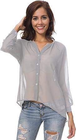Nuofengkudu Camisas Mujer Manga Larga Transparentes Gasa Oversize Elegantes Cuello V Moda Camisetas Tops Blusas Verano S M L XL 2XL 3XL 4XL 5XL: Amazon.es: Ropa y accesorios