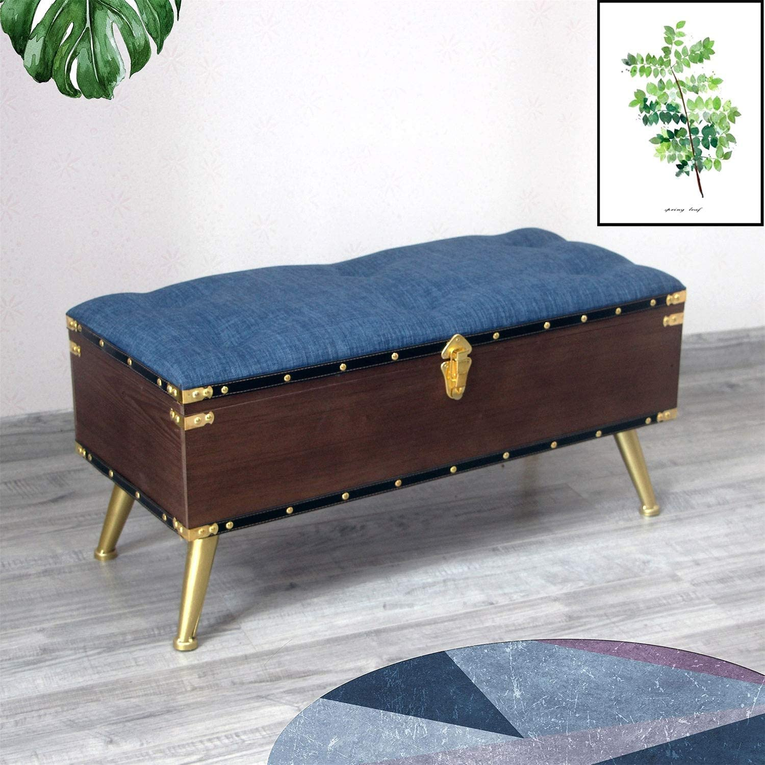 CHL Wood Sofa Bench with Linen Cushion Storage Bench for Bedroom