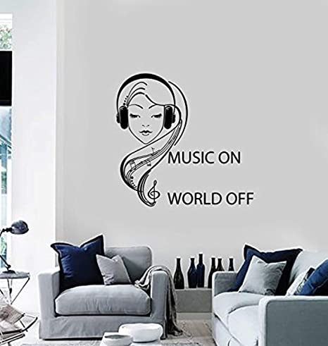 Amazoncom Anewdecals Wall Vinyl Decal Music On World Off Quote