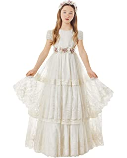 48d5eab7d9a Graceprom Girls Short Sleeves First Communion Dresses Lace Appliques Flower  Girl Dresses Kids Birthday Evening Gown
