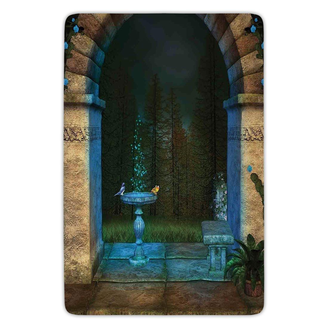 Bathroom Bath Rug Kitchen Floor Mat Carpet,Gothic,Forest Landscape from Ancient Archway Birds on Fountain Fairytale Illustration,Blue Grey Green,Flannel Microfiber Non-slip Soft Absorbent