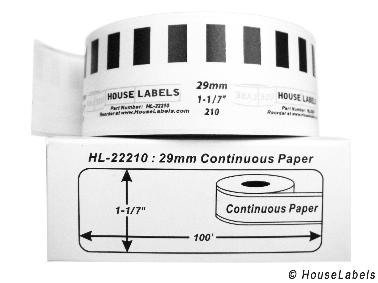 Houselabels 6 Rolls; Continuous Paper, BROTHER-Compatible DK-2210 Continuous Paper Labels (1-1/7'' x 100'; 29mm30.48m) -- BPA Free!
