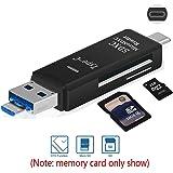 Lettore di schede SD/TF Con Adattatore 3-in-1 USB-A/Micro USB/USB-C,Lettore Scheda per Micro SD/SDHC/TF-001